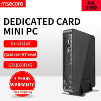 MSECORE Xeon E3 1231V3 GTX1050TI 4G Dedicated card gaming Mini PC Windows 10 Desktop Computer game pc linux intel Nettop HTPC 4K