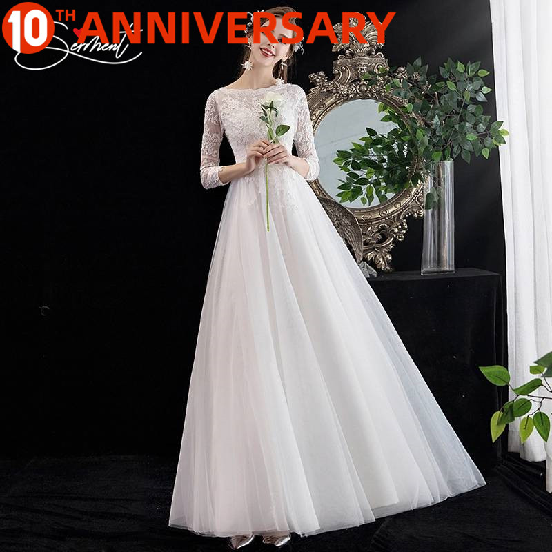 OllyMurs Amazing High Quality Soft Lace Wedding Long Sleeve Round Neck Simple Pattern Lace  Dress Elegant  Wedding