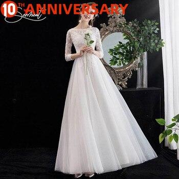 OllyMurs Amazing High Quality Soft Lace Wedding Long Sleeve Round Neck Simple Pattern Lace  Dress Elegant  Wedding