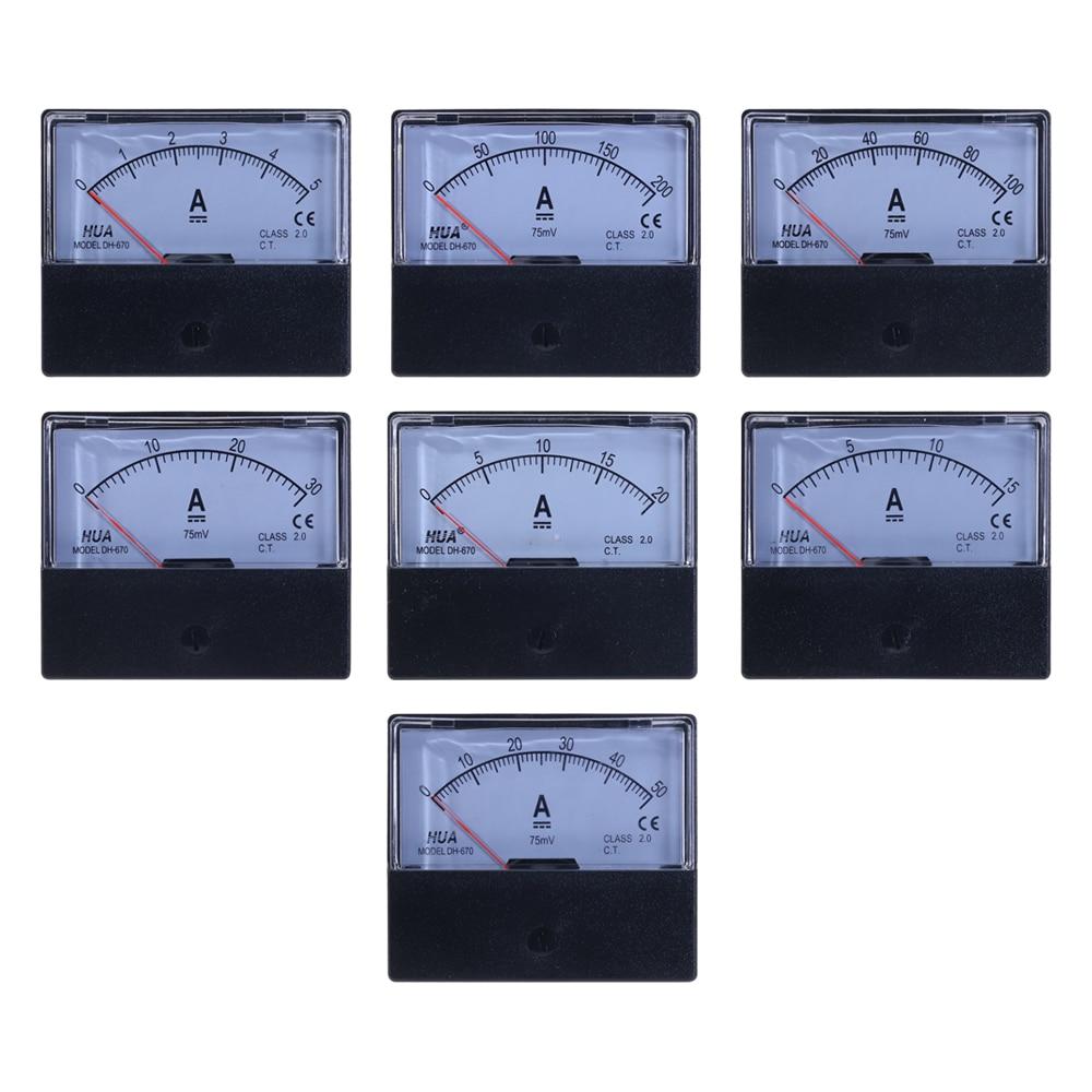 DH-670 DC аналоговый ток Панель метр 5A 15A 20A 30A 50A 100A 200A Amp Панель Амперметр со стрелкой Тип измеритель тока