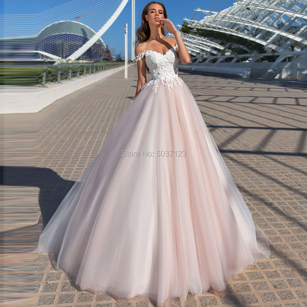 Beach Pink Wedding Dresses 2019 Off the Shoulder Lace Appliques Tulle Bridal Wedding Gowns Sleeveless Lace Up Vestido De Noiva-in Wedding Dresses from Weddings & Events
