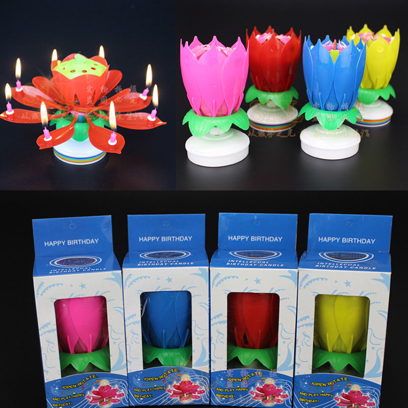 Creative Party Cake Topper Musical Lotus Flower Rotating Happy Birthday Candle W/ 8 Small Candles Decor Gift Dropship 2