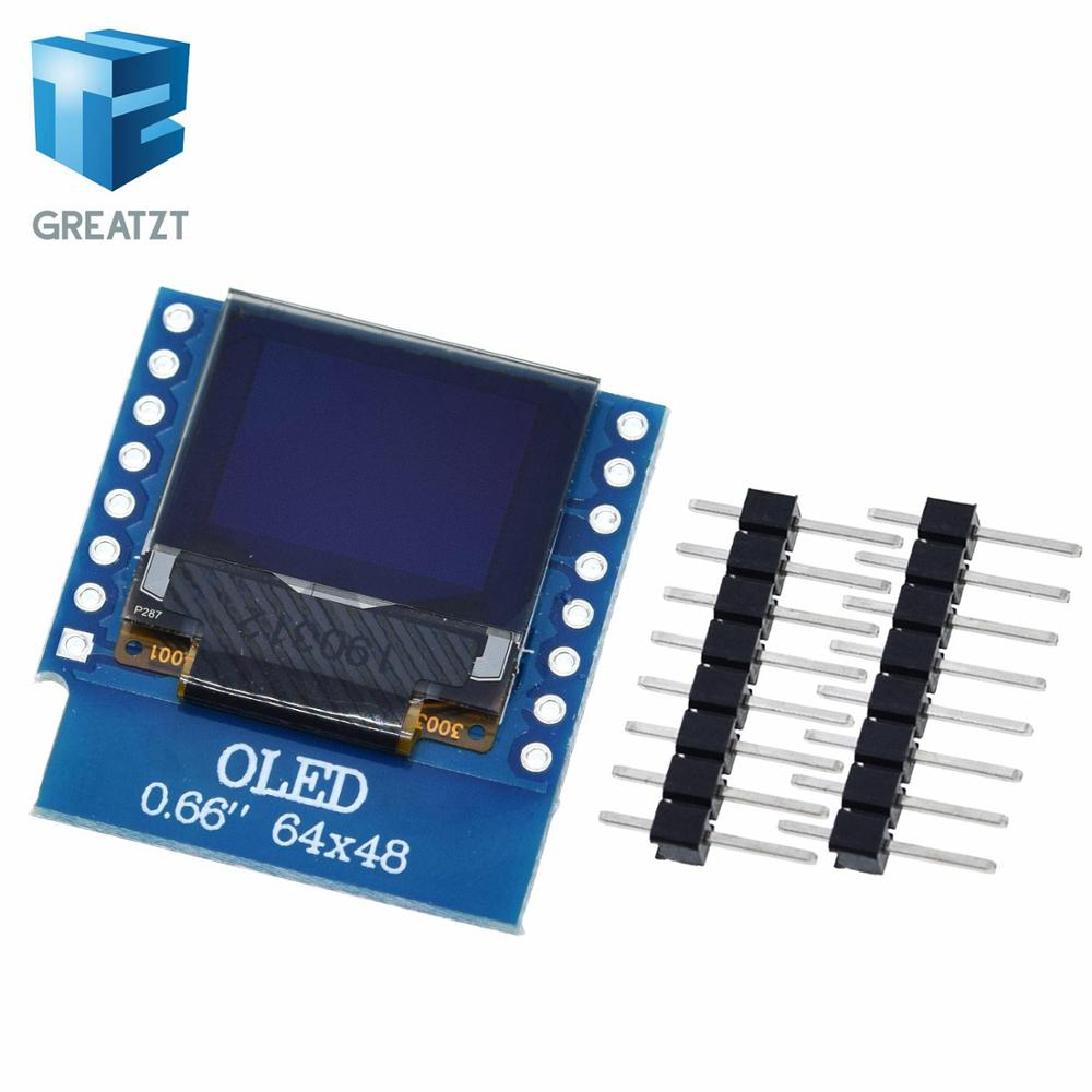 GREATZT 0.66  Inch OLED Display Module For WEMOS D1 MINI ESP32 Module  AVR STM32 64x48 0.66