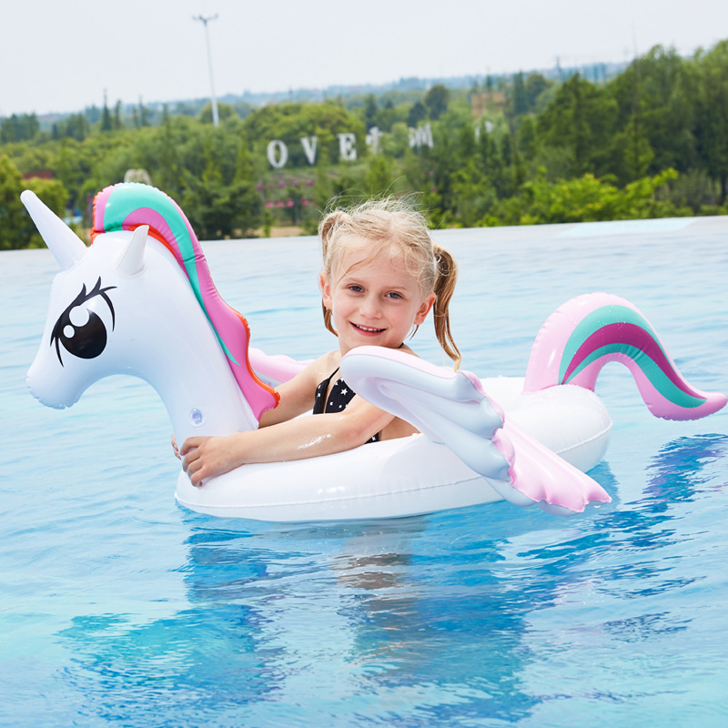 Unicorn Kids Pedestal Ring Infant Swimming Tube Seat Ring Colorful Wings Pony Inflatable Cup Holder for Pool Baby Swim Float