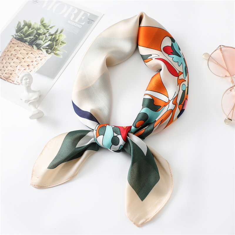 Square Scarves Fashion Lady Pattern Silk Scarf Women's  Bag Ribbon Decoration Hair Band Neckerchief Christmas Gift High Quality