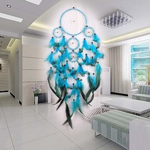 Feather Crafts Blue Dream Catcher Wind Chimes Handmade Dreamcatcher Net With Feather Beads for Wall Hanging Car Home Decor