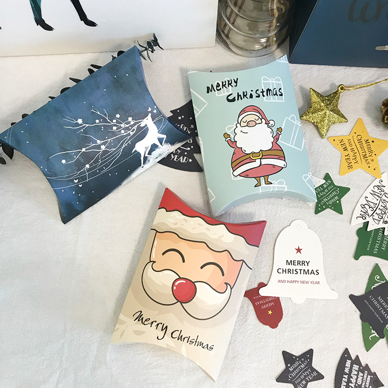 1PC Santa Claus Merry Christmas Candy Gifts Box Pillow Packaing Paper Cookies Bags For Christmas Party Favors Kids Gift Decor