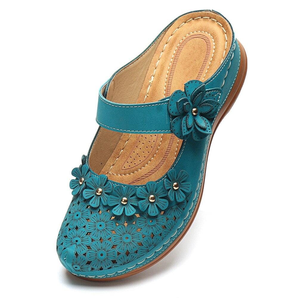 LASPERAL Women's Sandals 2020 Summer Handmade Ladies Shoes Leather Floral  Sandals Women Flats Retro Style Shoes Woman