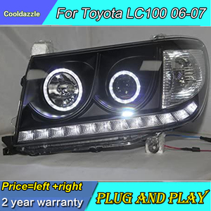 For Toyota LC100 FZJ100 UZJ100 4500 4700 LED Headlights Front Lamp Black Housing 2006-2007 Year