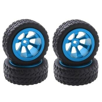 цена на 4Pcs/Lot Metal + Rubber Tires & Wheels for WLtoys 1/28 RC Car K969 K989 K999 P929 4WD Short Course Drift Off Road Rally Replacem