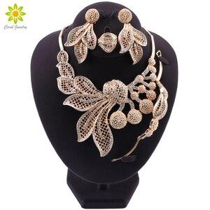 Image 1 - Bridal Gift Nigeriaanse Bruiloft Afrikaanse Kralen Sieraden Set Merk Vrouw Mode Dubai Gouden Kleur Sieraden Set Groothandel Ontwerp