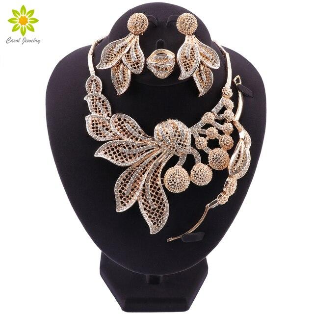 Bridal Gift Nigeriaanse Bruiloft Afrikaanse Kralen Sieraden Set Merk Vrouw Mode Dubai Gouden Kleur Sieraden Set Groothandel Ontwerp