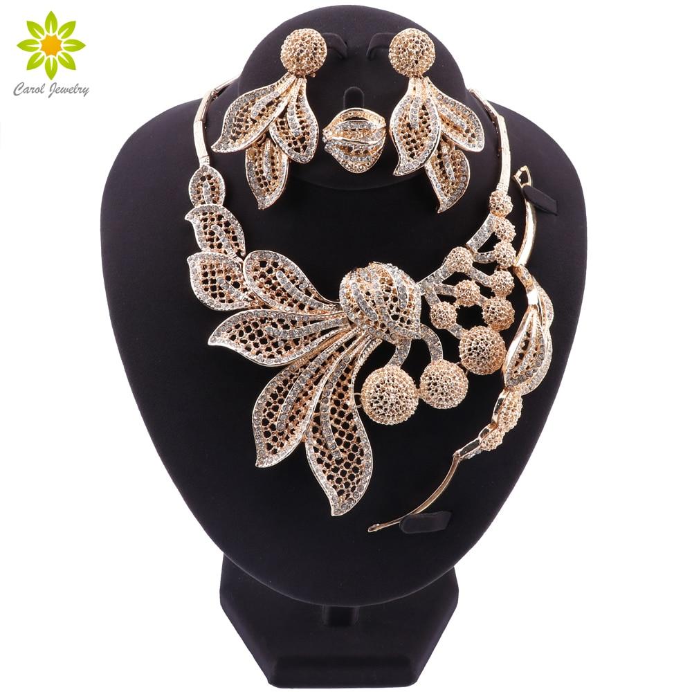 Bridal Gift Nigerian Wedding African Beads Jewelry Set Brand Woman Fashion Dubai Gold Color Jewelry Set Wholesale Design