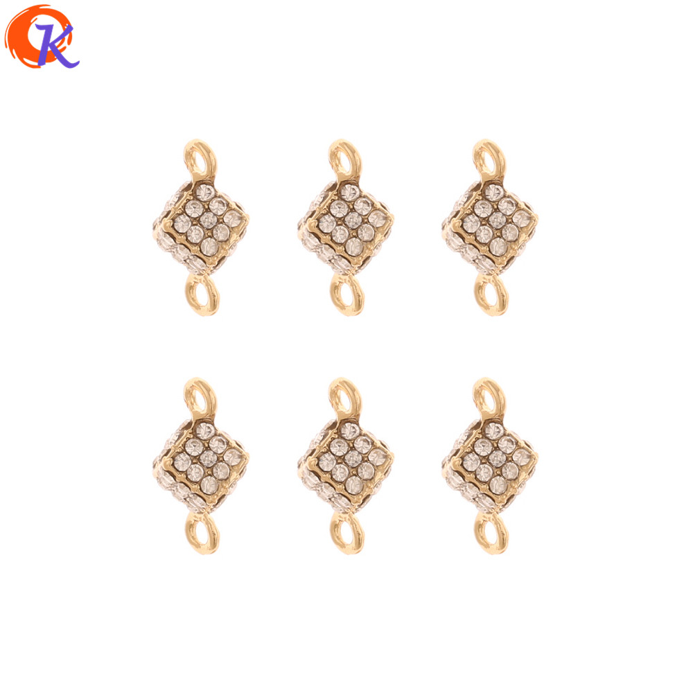 Cordial Design 50Pcs 8*16MM Rhinestone Charms/Jewelry Accessories/Connectors/Cube Shape/Hand Made/DIY Making/Earring Findings
