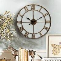 New 3D Circular Wall Clock 47 cm Retro Roman Wrought Hollow Iron Clock Battery Powered As Home Wall living Room Decoration