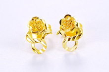 Gold-plated gold earrings retro women fashion trend ladies flower
