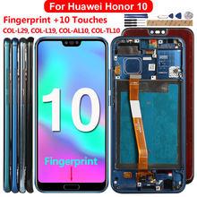 Tela lcd para huawei honor 10 display com impressão digital 10 toques lcd substituição para honra 10 COL-L29 l19 al10 tl10 5.84 polegada