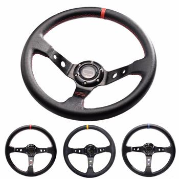 Uniwersalny 6-otwór Racing kierownica 14 cal 350mm pcv głęboko Corn Drifting samochód sportowy kierownica aluminium rama światło waga tanie i dobre opinie miling FRONT 11cm 35cm PVC Leather + Aluminum frame 1 45KG Racing steering wheel China