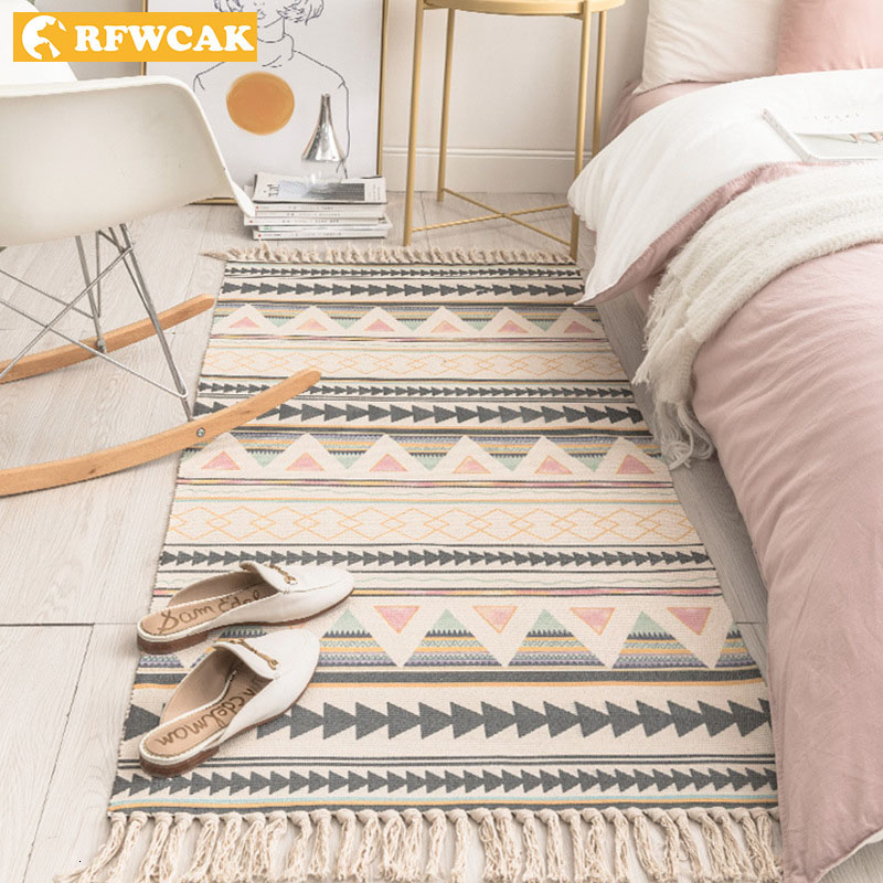 Retro Carpet For Sofa Living Room Bedroom Rug Cotton Tassels Yarn Dyed 60x180cm Table Ruuner Bedspread Tapestry Home Decoration