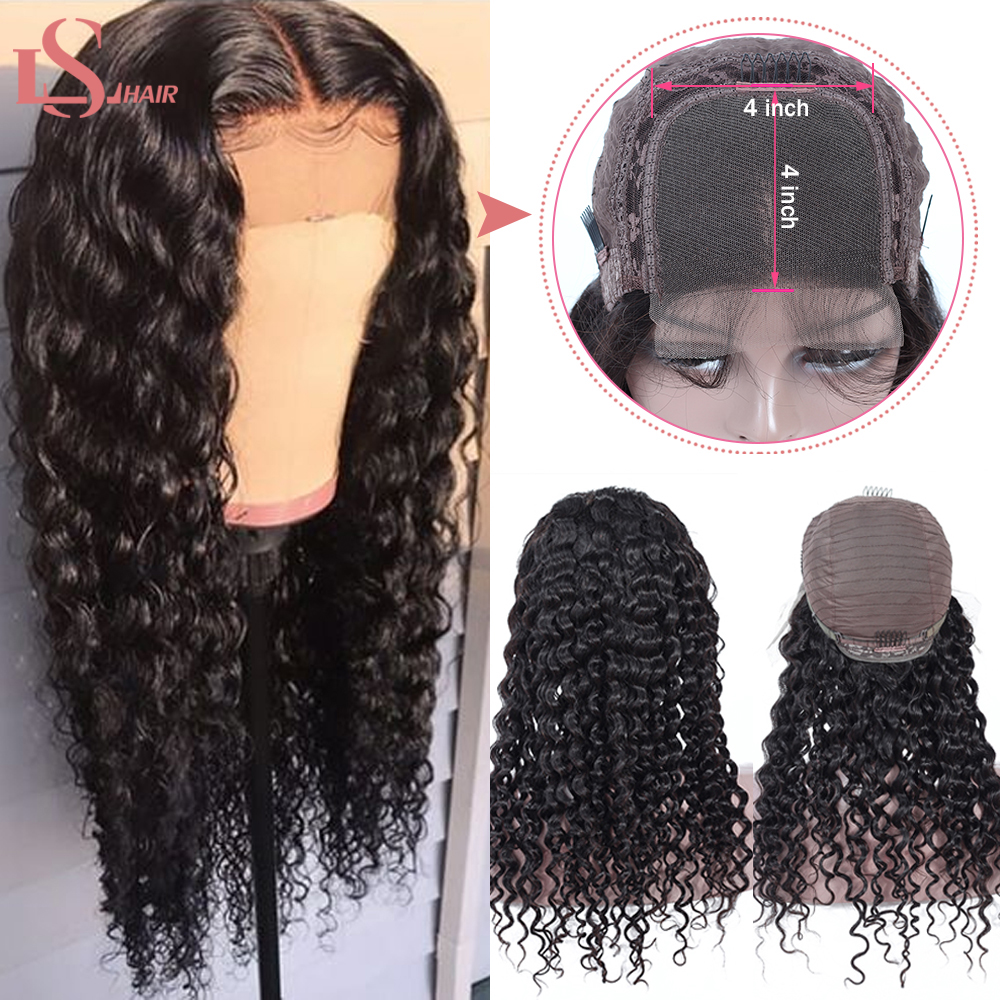 LS 4x4 Lace Closure Wig Deep Wave Human Hair Wigs Brazilian Lace Human Hair Wigs With Baby Hair Lace Closure Wigs