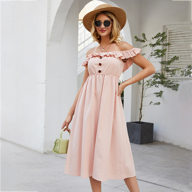 Spring Summer Slash Collar Stitching Ruffled Single Breasted Solid Color High Waist Midi Sexy Dresses Women Clothing TA13027 1