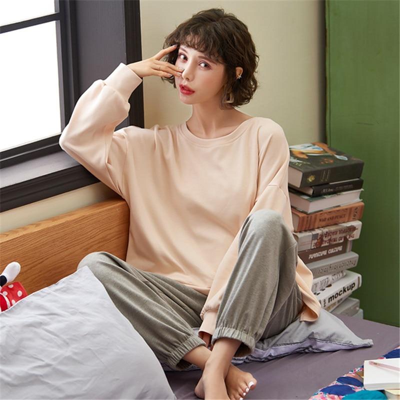 JULY'S SONG-Conjunto de pijama de algodón para mujer, ropa de dormir de manga larga, pantalones largos, primavera y verano, 2 piezas