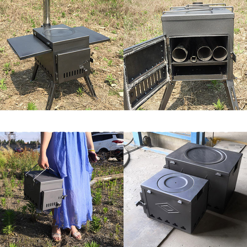 Stainless Steel Wood Stove Outdoor Portable Field Stove Camping Fishing Tent Heating Stove Boiling Water Frying Cooking Stove