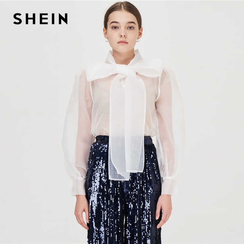 SHEIN White Tie Neck Organza Sexy Blouse Without Bra Women 2019 Spring Autumn Stand Collar Puff Sleeve Ladies Tops And Blouses 1
