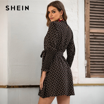SHEIN Stand Collar Ditsy Floral Print Elegant Dress With Belt Women 2020 Spring Flounce Sleeve Ladies A Line Short Frill Dresses 4