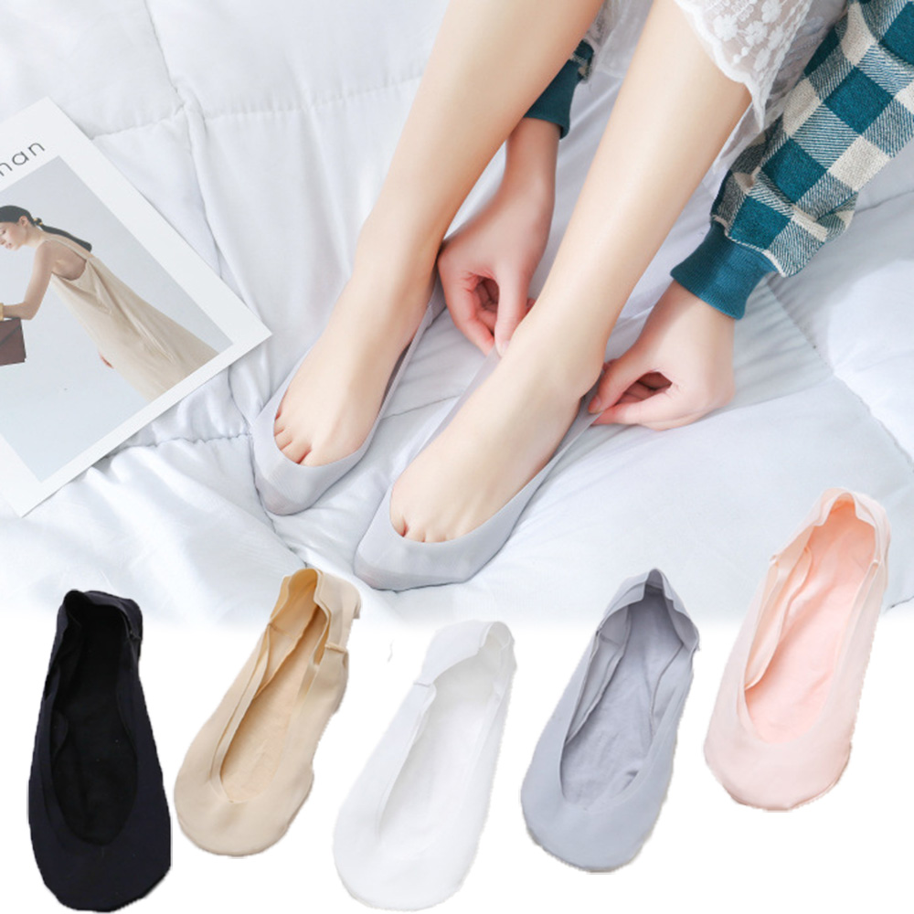 Thin Sweat-Absorbent Boat Socks Women's Shallow Mouth Invisible Socks Female Silicone Non-slip High Heel Ice Silk Socks