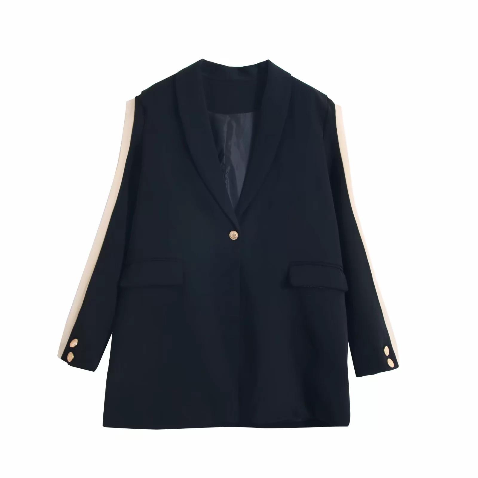 2019 Autumn New Women's Jacket Casual Large Size Loose Stitching Chiffon Full Sleeve Long Suit Jacket Female Office Blazer