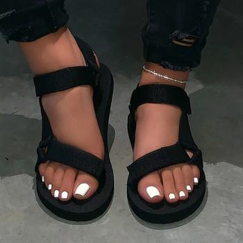 SAGACE sandały damskie moda damska kliny stałe platformy z wystającym palcem sandały sneaker eva płaskie buty na plażę damskie sandały 2020 mar tanie i dobre opinie Na płótnie CN (pochodzenie) Podstawowe Mieszkanie z NONE Otwarta Niska (1 cm-3 cm) Na co dzień Hook loop Pasuje prawda na wymiar weź swój normalny rozmiar