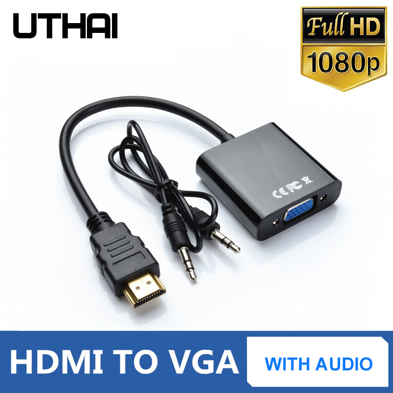 UTHAI T20 HDMI 1080P To VGA Adapter With 3.5mmAudio 4K HD Digital Cable For PC Laptop Tablet HDMI Male To VGA Famale Converter