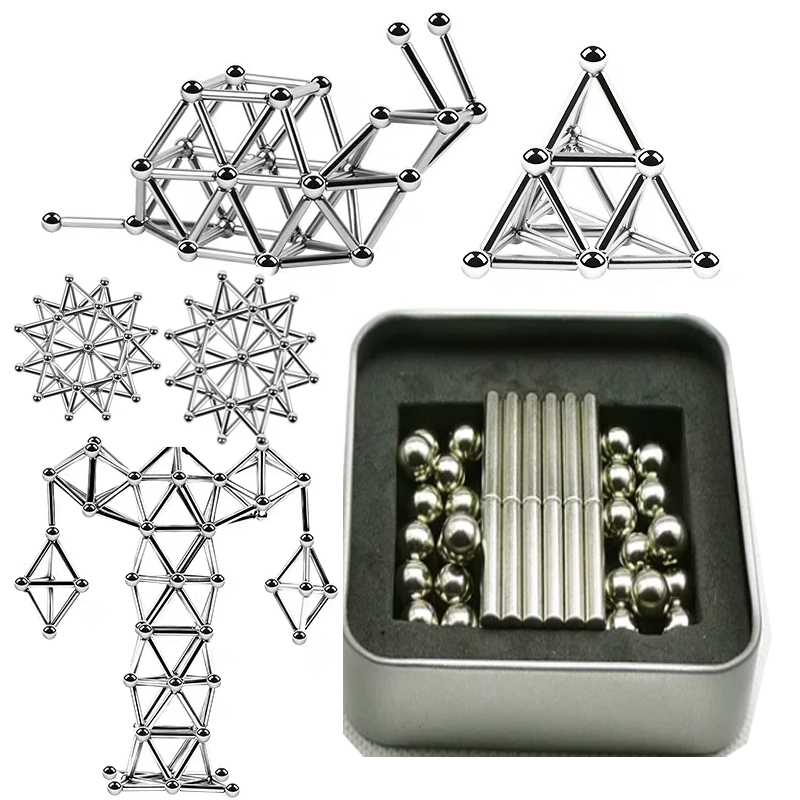 63-189pcs Metal Magnets Cube Magic Building Blocks Children Educational Puzzle Toys Innovative Magnetic Sticks Steel Balls Set