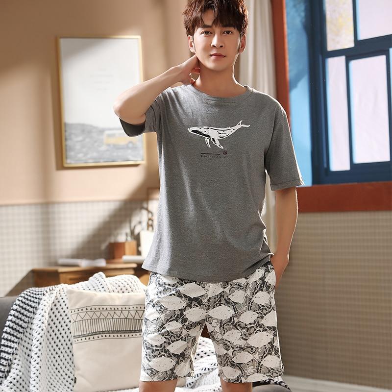 Leisure 2020 Summer Men Cotton Pajamas Short Sleeve Male Pajama Set Men Sleepwear Suit Casual Bottom Homewear Clothing Nightwear