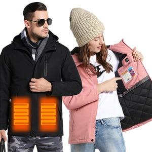 Image 2 - Winter USB Infrared Heating Jackets Men Women Outdoor Windproof Waterproof Windbreaker Fleece Casual Hooded Coat Mens Clothes