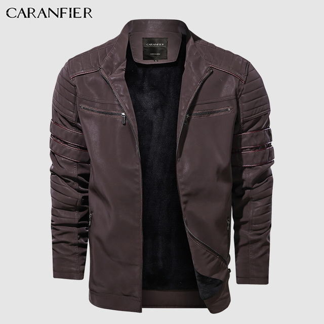 CARANFIER Fashion Winter Leather Jacket Men Stand   2
