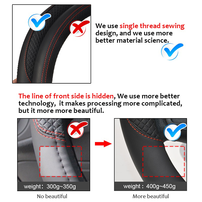 100% DERMAY Brand Leather Universal Car Steering-wheel Cover 37CM-38CM Car-styling Sport Auto Steering Wheel Covers Anti-Slip 2