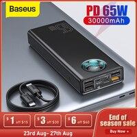 Baseus-cargador portátil de 65W, batería externa de 30000mAh, PD, carga rápida, para teléfono, tableta y Xiaomi