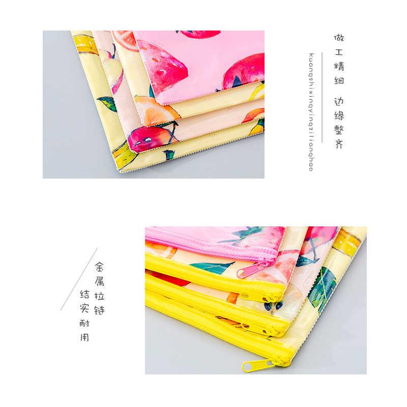 1 pçs/lote kawaii estilo coreano criativo frutas grade zíper papelaria caneta saco escola escritórios fornecedores lápis bolsa papelaria