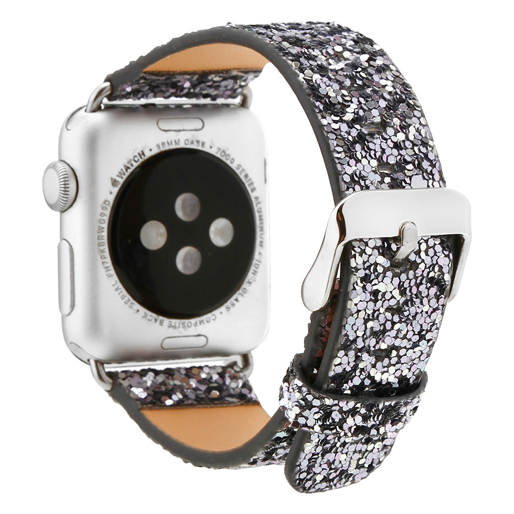 Foreign Trade Hot Selling For Apple AppleWatch Sequin Watch Band IWatch Flash Star Hide Substance Shimmering Powder Wrist Strap