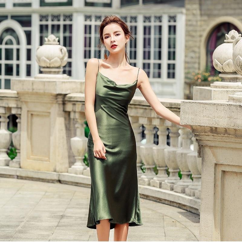 2021 Summer Women's Satin Dress Sexy Vest Elastic Home Silk Dress Elegant Body Party Backless Silk Dress Kleider Damen Kim