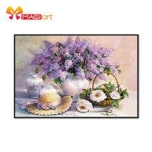 عبر عدة خياطة التطريز التطريز مجموعات 11CT للذوبان في الماء أنماط قماش 14CT الأزهار نمط زهر Lavender NCMF213