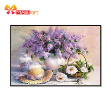 Cross stitch kits Embroidery needlework sets 11CT water soluble canvas patterns 14CT Floral style  blossom Lavender NCMF213