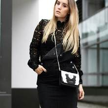 Long-sleeved pure openwork lace bottoming shirt tops Lantern sleeves fashion 2019 European and American explosion models(China)