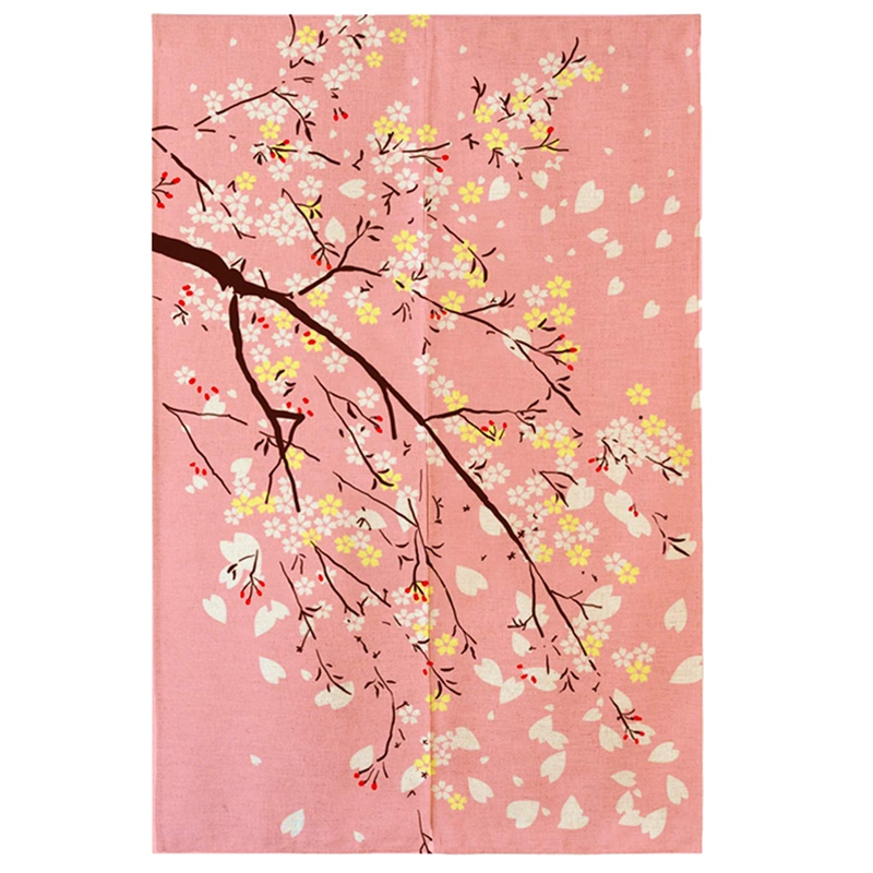 TOP!-Japan Beimen Road Shower Curtain Cherry Blossom Japanese Fabric Printing Curtain Tapestry