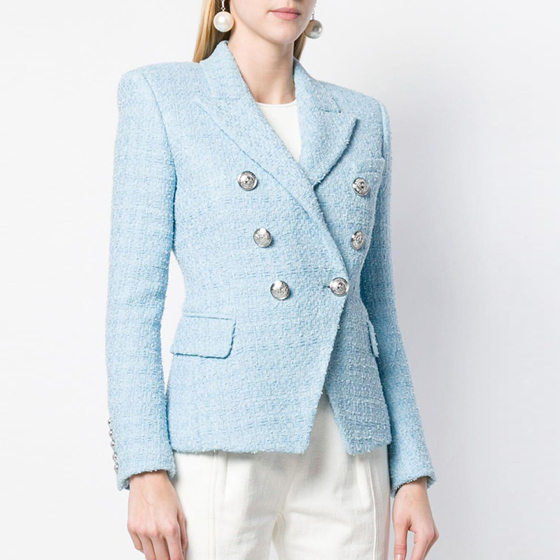 HIGH STREET 2019 Newest Baroque Designer Blazer Women's Lion Metal Buttons Wool Tweed Blazer Jacket
