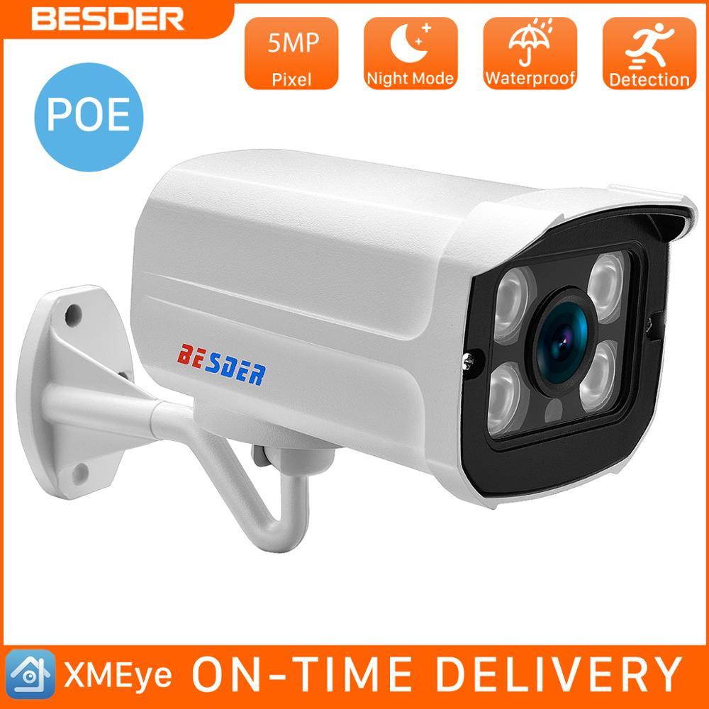 Besder 5mp 3mp 2mp hd cheio de vigilância bala ao ar livre poe ip noite câmera onvif áudio grande angular para cctv netwrok sistema de câmera