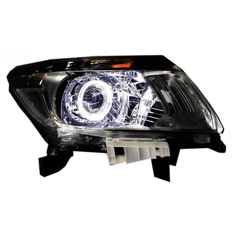 Headlight Assembly For Nissan Navara Np300 2017-19 Angel Eye Turn Signal Bi-lens HID Bulbs With 65W Ballast, Left And Right