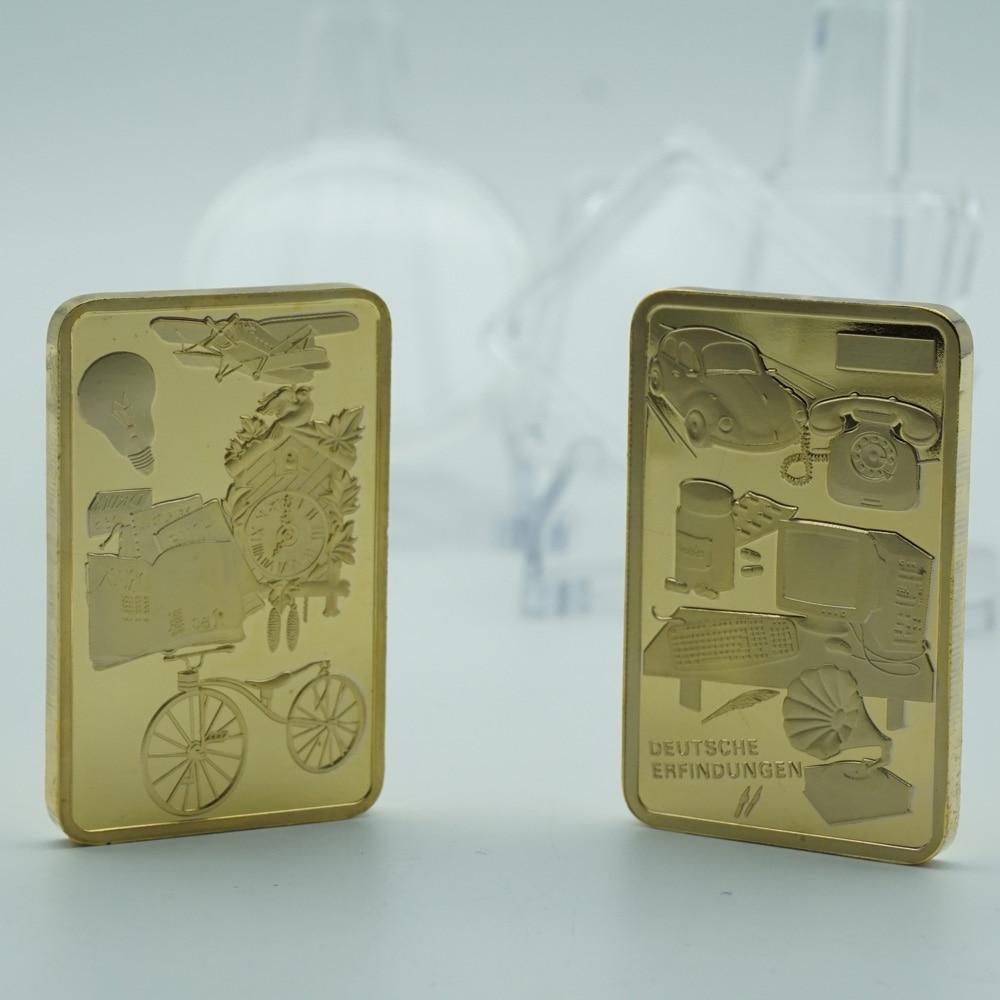 Free Shipping one troy Ounce Germany deutsche Erfindungen Invented gold bullion bar 1 OZ 999 Fine Coin